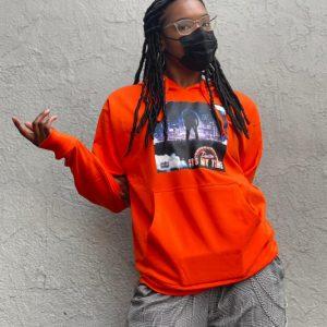 orange album release hoodie